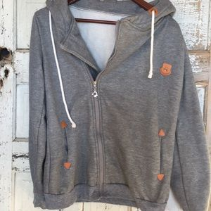 Comfy gray hoodie with pockets & anchor patch EUC